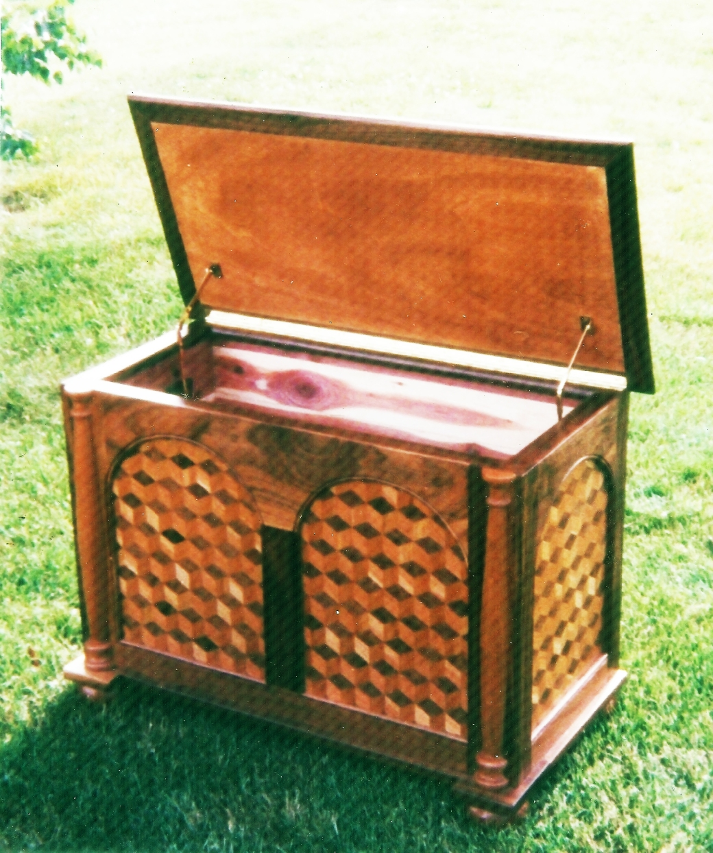 Cherry and Walnut Chest Open