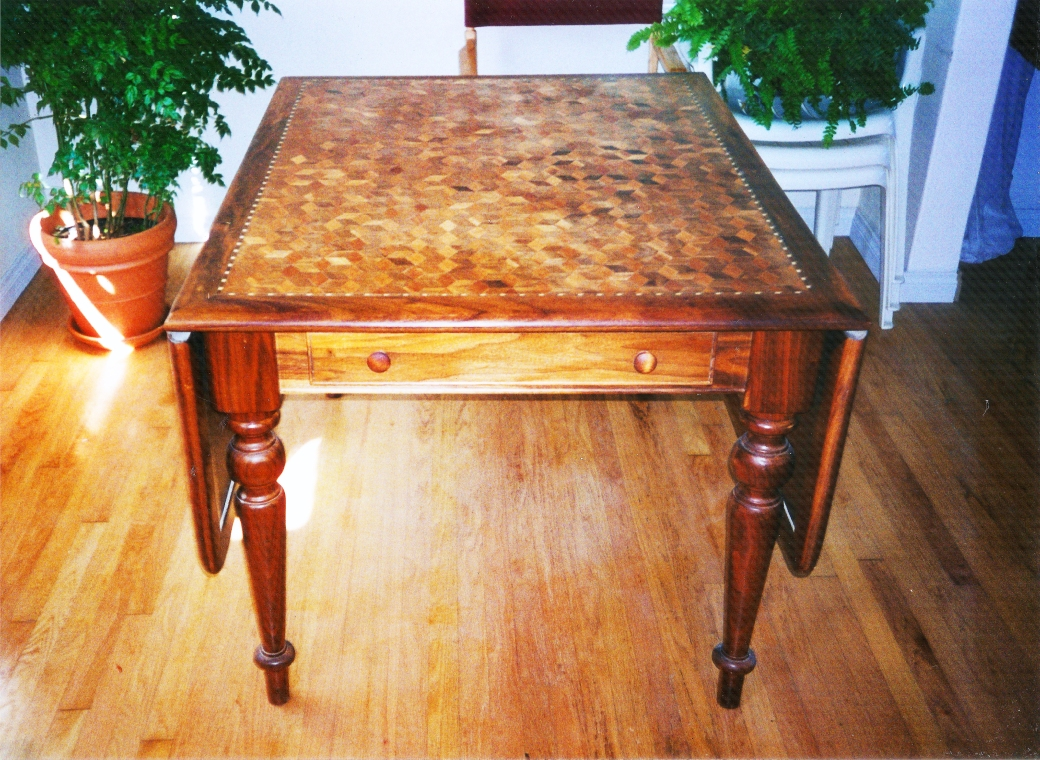 Cherry and Walnut Drop Leaf Table Front