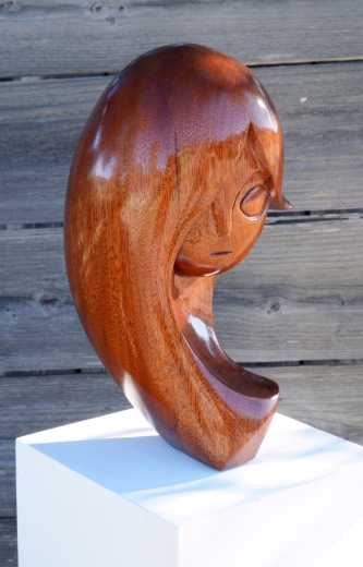 """Emma"" 12 x 6 x 6 - Mahogany Wood carved bust by Michael Cooley"