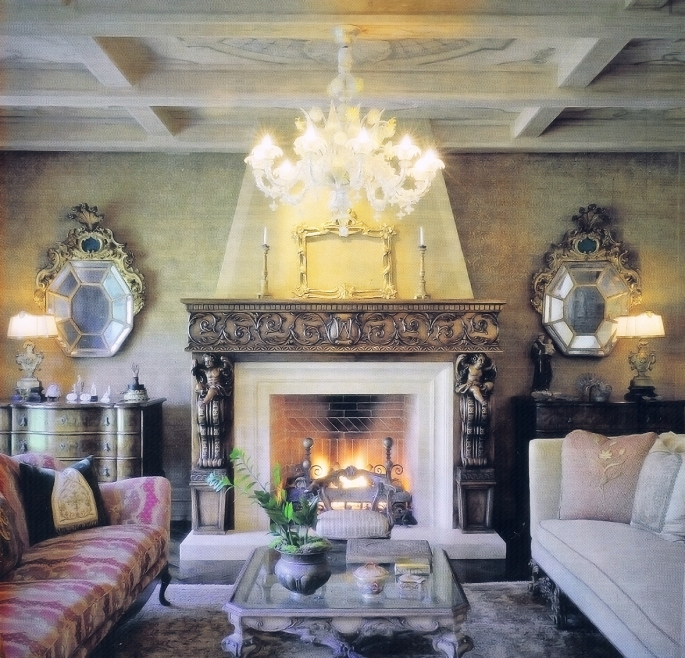 San Diego Home Garden Magazine -Carved Adler Fireplace - small