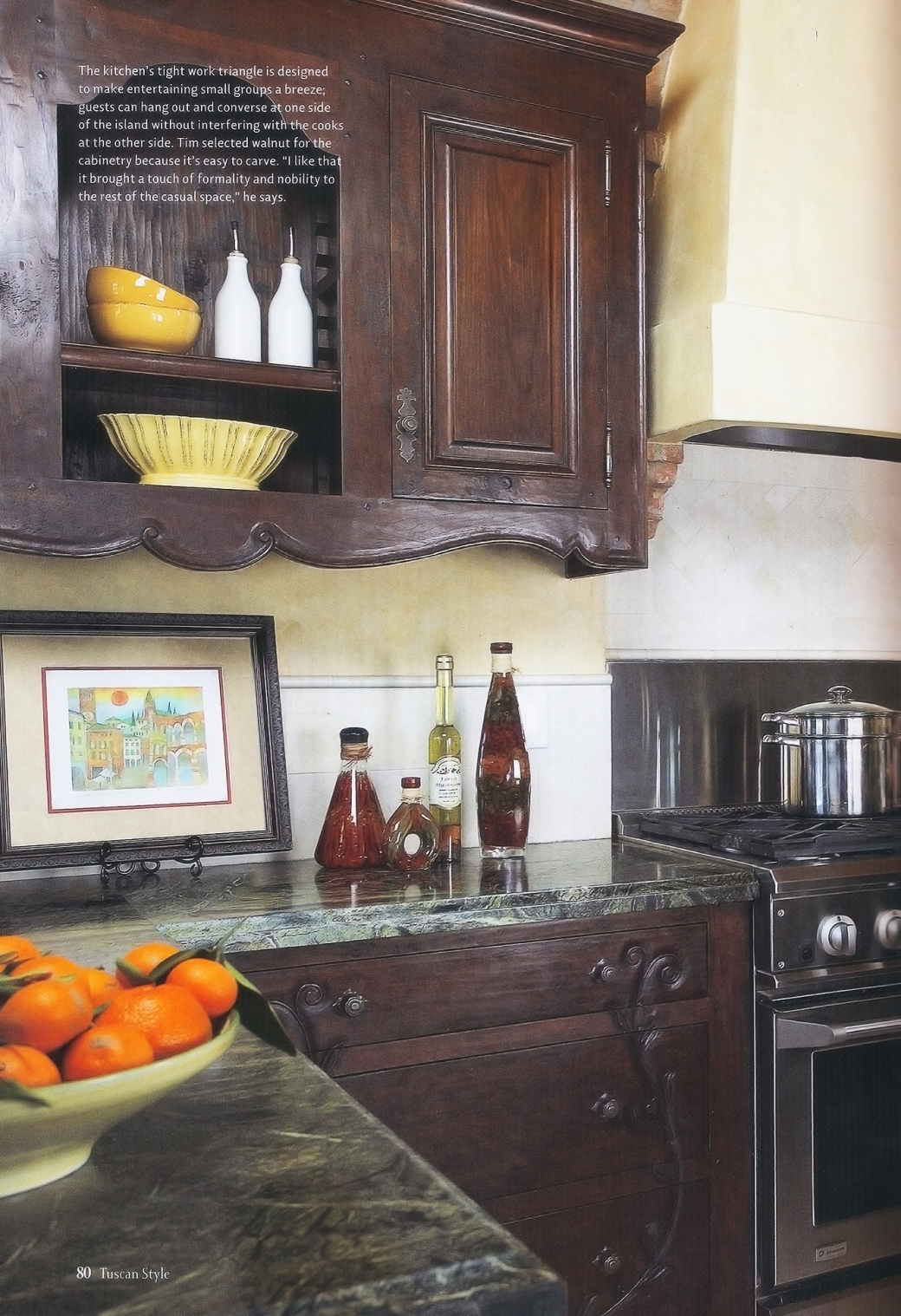 Tuscany Style Mag - Tim Wilson Walnut Kitchen - small